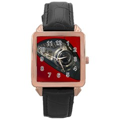 Auto Red Fast Sport Rose Gold Leather Watch