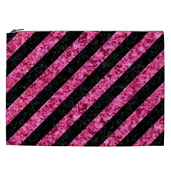 Stripes3 Black Marble & Pink Marble Cosmetic Bag (xxl)