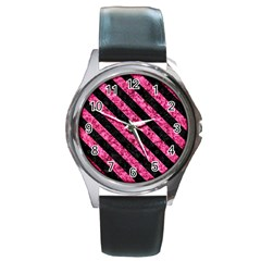 STR3 BK-PK MARBLE (R) Round Metal Watch