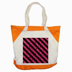 Stripes3 Black Marble & Pink Marble (r) Accent Tote Bag