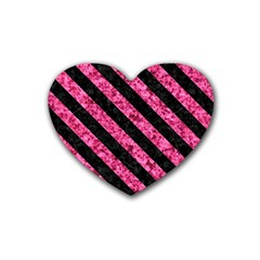 STR3 BK-PK MARBLE (R) Rubber Coaster (Heart)
