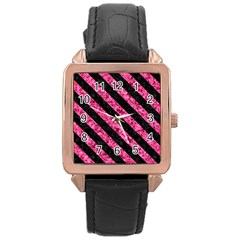 STR3 BK-PK MARBLE (R) Rose Gold Leather Watch