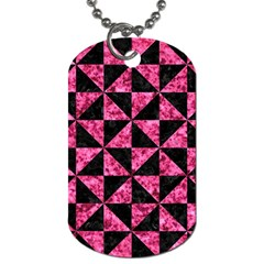 TRI1 BK-PK MARBLE Dog Tag (Two Sides)