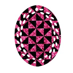 Triangle1 Black Marble & Pink Marble Oval Filigree Ornament (two Sides)