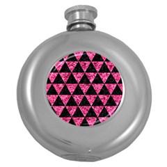 TRI3 BK-PK MARBLE Round Hip Flask (5 oz)