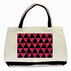 Triangle3 Black Marble & Pink Marble Basic Tote Bag (two Sides)