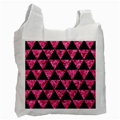 Triangle3 Black Marble & Pink Marble Recycle Bag (two Side)