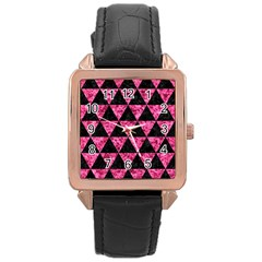TRI3 BK-PK MARBLE Rose Gold Leather Watch