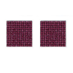 Woven1 Black Marble & Pink Marble Cufflinks (square)