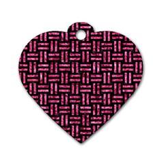 WOV1 BK-PK MARBLE Dog Tag Heart (Two Sides)