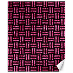Woven1 Black Marble & Pink Marble Canvas 11  X 14