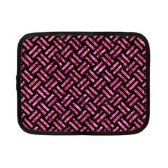 Woven2 Black Marble & Pink Marble Netbook Case (small)