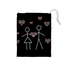 Couple in love Drawstring Pouches (Medium)