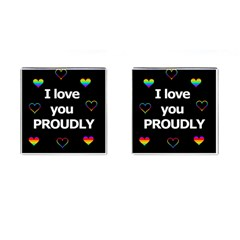 Proudly love Cufflinks (Square)