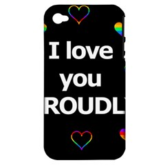 Proudly love Apple iPhone 4/4S Hardshell Case (PC+Silicone)