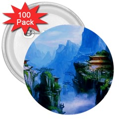 Fantasy nature 3  Buttons (100 pack)