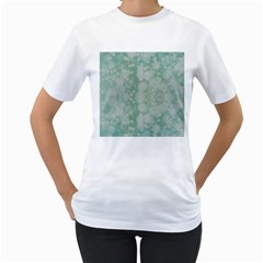 Light Circles, Mint green color Women s T-Shirt (White) (Two Sided)