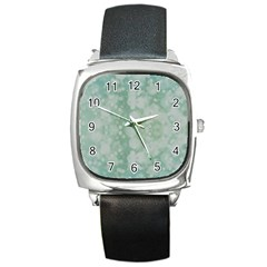 Light Circles, Mint green color Square Metal Watch