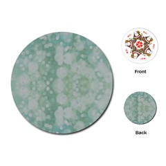 Light Circles, Mint green color Playing Cards (Round)