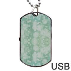 Light Circles, Mint green color Dog Tag USB Flash (One Side)