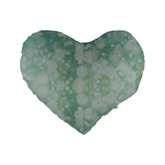 Light Circles, Mint green color Standard 16  Premium Heart Shape Cushions