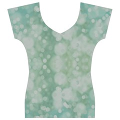 Light Circles, Mint green color Women s V-Neck Cap Sleeve Top