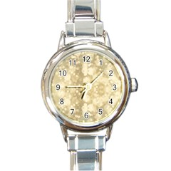 Light Circles, Brown Yellow color Round Italian Charm Watch