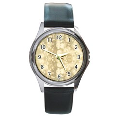 Light Circles, Brown Yellow color Round Metal Watch