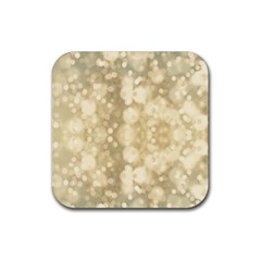 Light Circles, Brown Yellow color Rubber Coaster (Square)