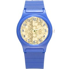 Light Circles, Brown Yellow color Round Plastic Sport Watch (S)