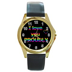 I love you proudly Round Gold Metal Watch
