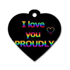 I love you proudly Dog Tag Heart (Two Sides)