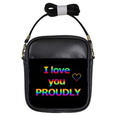 I love you proudly Girls Sling Bags
