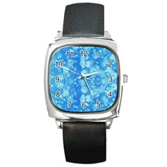 Light Circles, dark and light blue color Square Metal Watch