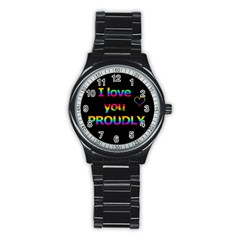 I love you proudly Stainless Steel Round Watch