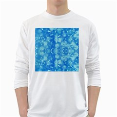 Light Circles, dark and light blue color White Long Sleeve T-Shirts