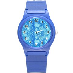 Light Circles, dark and light blue color Round Plastic Sport Watch (S)