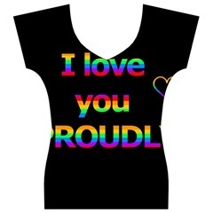 I love you proudly Women s V-Neck Cap Sleeve Top