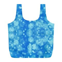 Light Circles, dark and light blue color Full Print Recycle Bags (L)