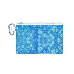 Light Circles, dark and light blue color Canvas Cosmetic Bag (S)
