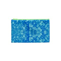 Light Circles, dark and light blue color Cosmetic Bag (XS)