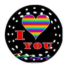 I love you Round Filigree Ornament (2Side)
