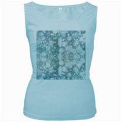 Light Circles, blue gray white colors Women s Baby Blue Tank Top