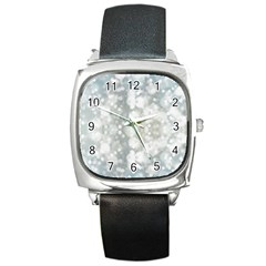 Light Circles, blue gray white colors Square Metal Watch