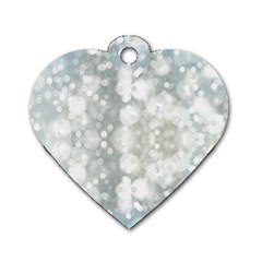 Light Circles, blue gray white colors Dog Tag Heart (Two Sides)