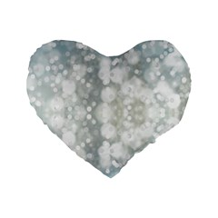 Light Circles, blue gray white colors Standard 16  Premium Heart Shape Cushions