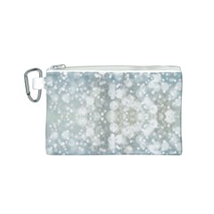 Light Circles, blue gray white colors Canvas Cosmetic Bag (S)