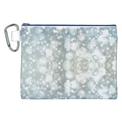 Light Circles, blue gray white colors Canvas Cosmetic Bag (XXL)
