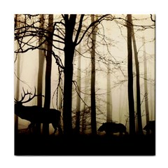 Forest Fog Hirsch Wild Boars Tile Coasters