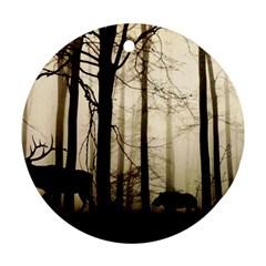 Forest Fog Hirsch Wild Boars Ornament (Round)